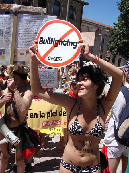 For several years, PETA ran a 'Running of the Nudes' protest a few days prior to the Running of the Bulls, in Pamplona, Spain, to protest (and provide an alternate form of entertainment to) the bullfighting that occurs when these scared bulls finally make it to the bullring, where they are then killed. The 'naked' run was accompanied by music and enormous fun. The minimal amount of clothing had been agreed in a legal settlement between lawyers representing PETA and Pamplona's council, following full nudity the first year.