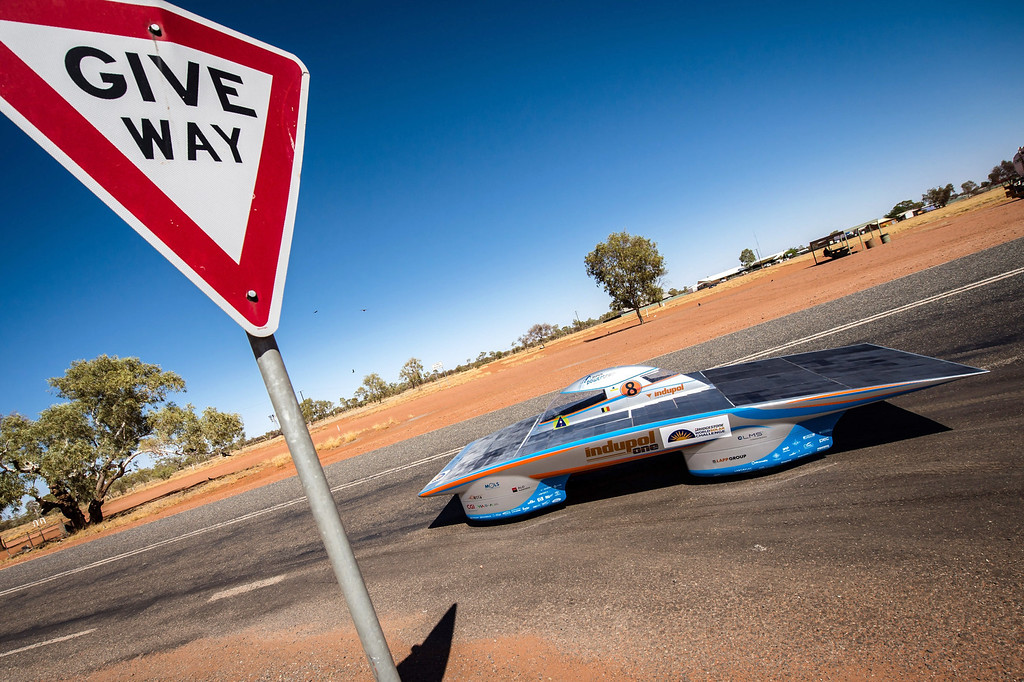 . In this photo taken on Tuesday, Oct. 8, 2013, the Indupol One of the Belgian solar team leaves a control stop in Ti Tree, 191 kilometers North of Alice Springs, Australia. The solar challenge race, lasting for seven days, will take 43 participants over 3,021 kilometers before ending on Sunday, Oct 13. (AP Photo/Geert Vanden Wijngaert)