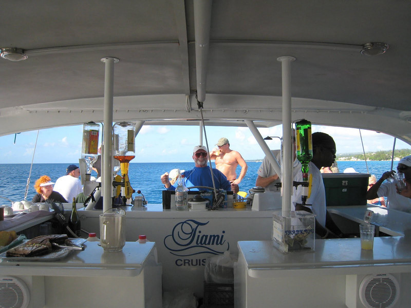 Catamaran Sail, Snorkel and Turtle Encounter, Barbados - David pretending to drive the boat!