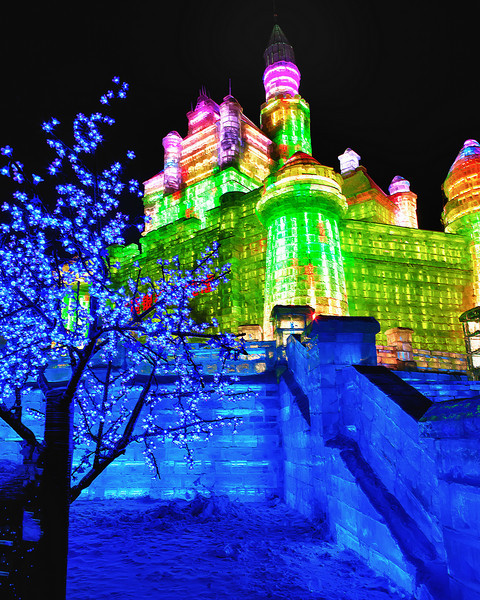 Lights on the castle at the Harbin Ice festival.  A multitude of constantly changing colors in the cold.