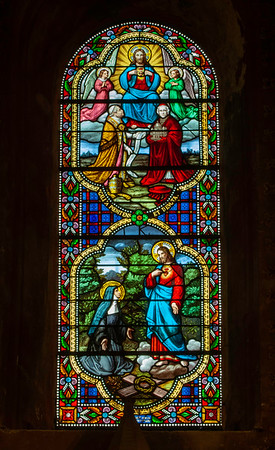 Europe, France, Provence, Orange, Notre Dame de Nazareth, stained window