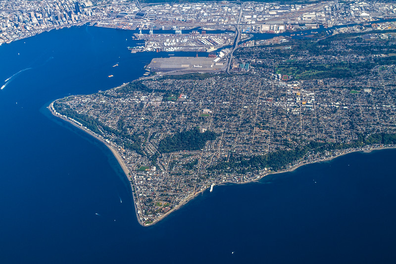 Aerial view of Alki Point and West Seattle with Elliot Bay and downtown Seattle in the background - USA - Washington