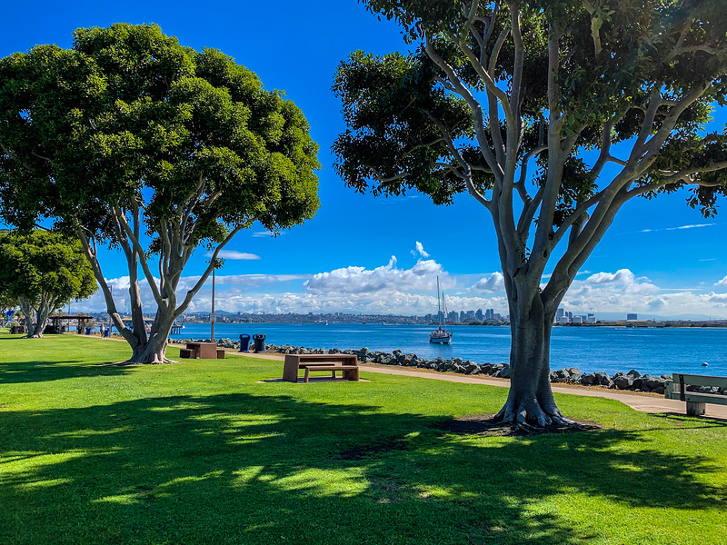 Shoreline Park on Shelter Island with San Diego skyline
