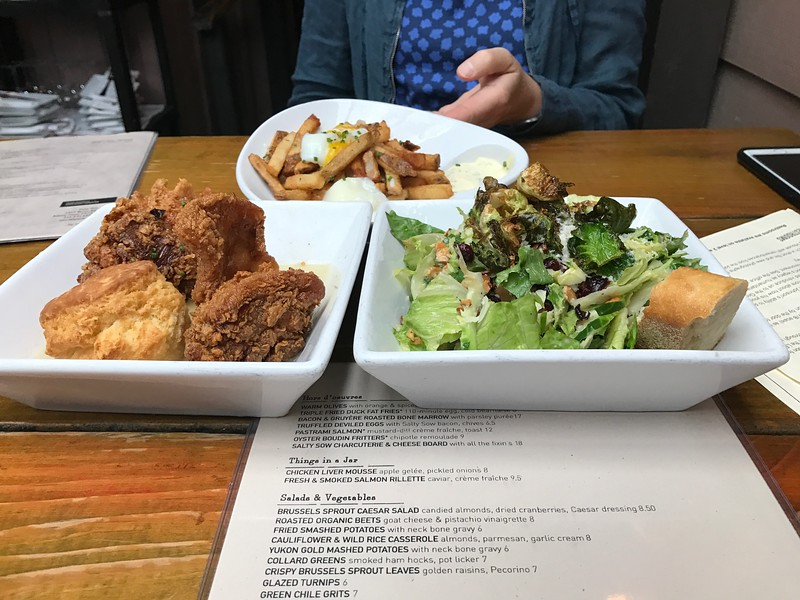 Salty Sow DUCK FAT FRIES, HONEY ROSEMARY DIPPED FRIED CHICKEN,  BRUSSELS SPROUT CAESAR SALAD