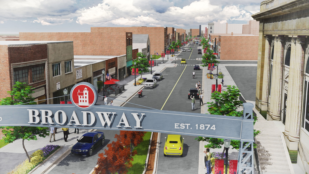 . Submitted illustration - The Collaborative/City of Lorain <br> This illustration shows the view north of Broadway over a new gateway sign that could be installed as part of the proposed streetscape for downtown Lorain. Lorain City Engineer Dale Vandersommen said the 2015 renderings of the Broadway illustrate how the plans would look for construction in 2018, although there are some changes to the lights and walkways.