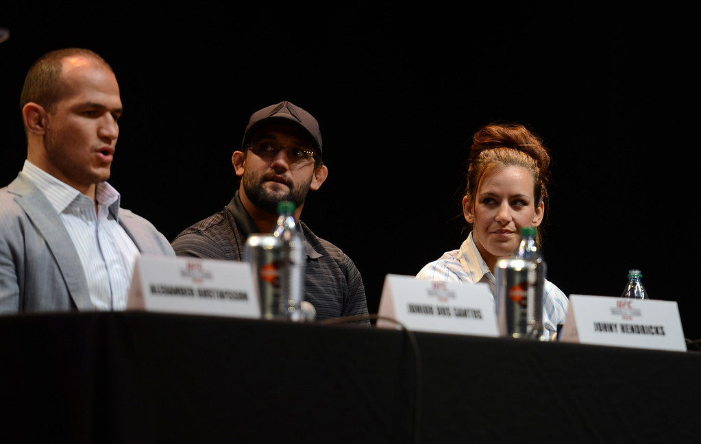 . UFC fighters Junior dos Santos, Johny Hendricks and Miesha Tate during the UFC World Tour at Club Nokia Tuesday, July 30, 2013 in Los Angeles. (Hans Gutknecht/Los Angeles Daily News)