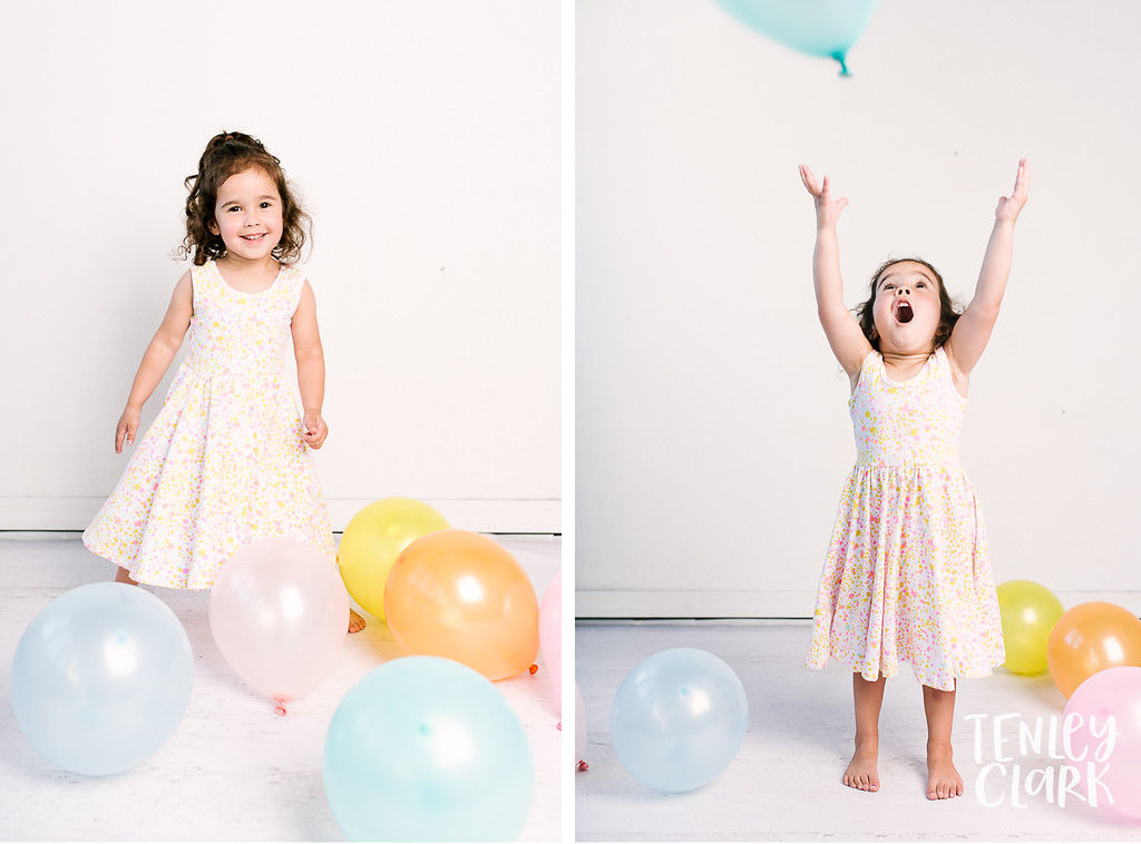 Colorful studio toddler model headshot portfolio session-JE Kids -San Jose, CA by Tenley Clark Photography. Balloons.