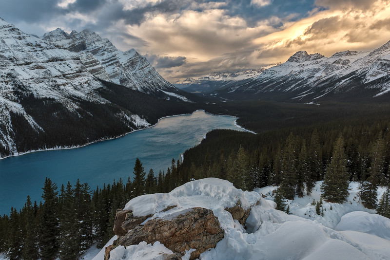 Snowy Sunset at Peyto Lake