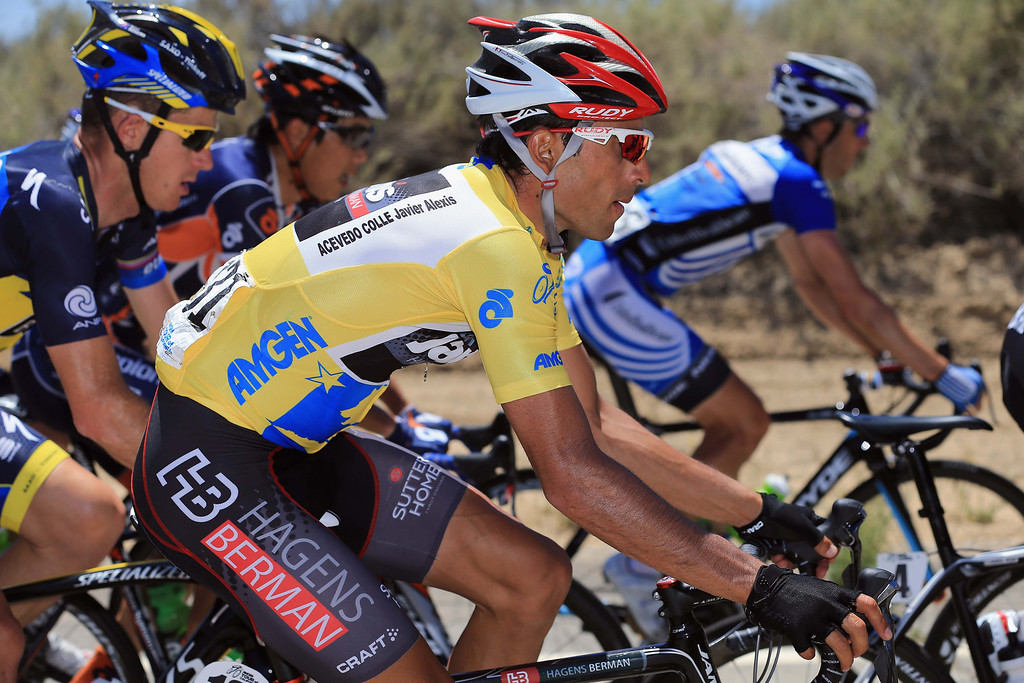 . Janier Acevedo of Columbia riding for Jamis-Hagens Berman rides in the peloton as he defended the overall race leader\'s jersey during Stage Three of the 2013 Amgen Tour of California from Palmdale to Santa Clarita on May 14, 2013 in Santa Clarita, California.  (Photo by Doug Pensinger/Getty Images)