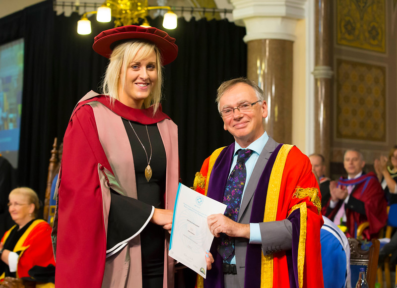 02/11/2017. Waterford Institute of Technology Conferring. Pictured is Áine Murphy from Crossabeg, Wexford who was conferred a PhD, also pictured is Prof. Willie Donnelly, President of WIT.  Picture: Patrick Browne.