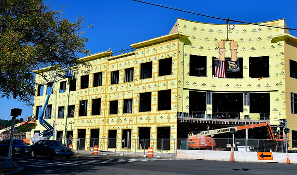 10/17/2018 Mike Orazzi | Staff Work continues on Bristol Hospital's ambulatory center at the corner of Riverside Avenue and Main Street in downtown Bristol.