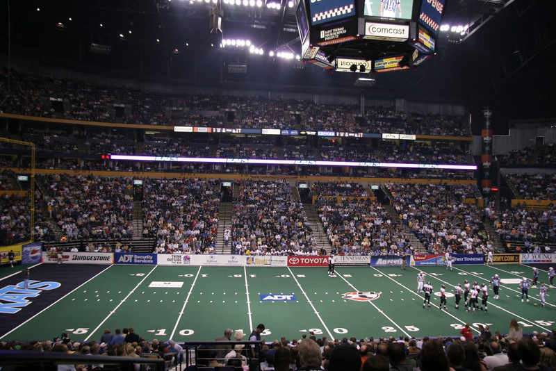 Arena Football is football on a miniature scale. (well, except for the players - they're just as huge!)