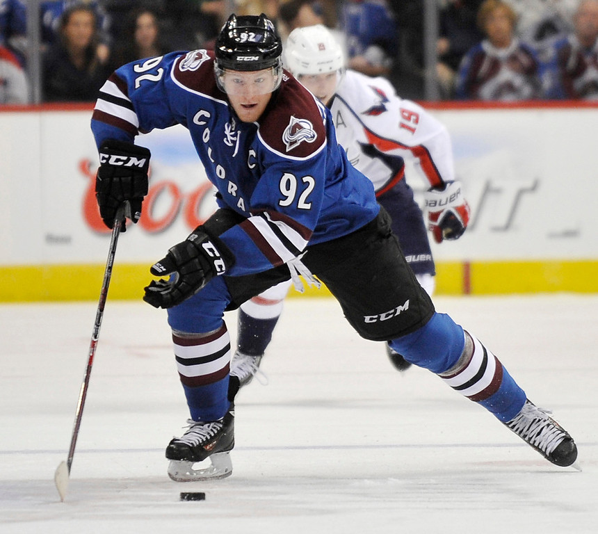 . Colorado Avalanche forward Gabriel Landeskog drives on the way to a goal in the third period.  (Photo By Patrick Traylor/The Denver Post)