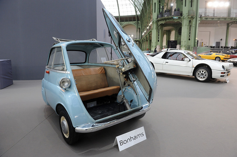 . A BMW Isetta 300 is seen on the wheel of a vintage car, during an exhibition by Bonhams auction house, at Le Grand Palais on February 5, 2014 in Paris, France.  (Photo by Antoine Antoniol/Getty Images)