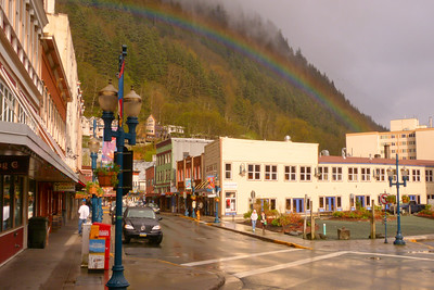 Downtown Juneau with Rainbow May 2013, Cynthia Meyer, Juneau, Alaska