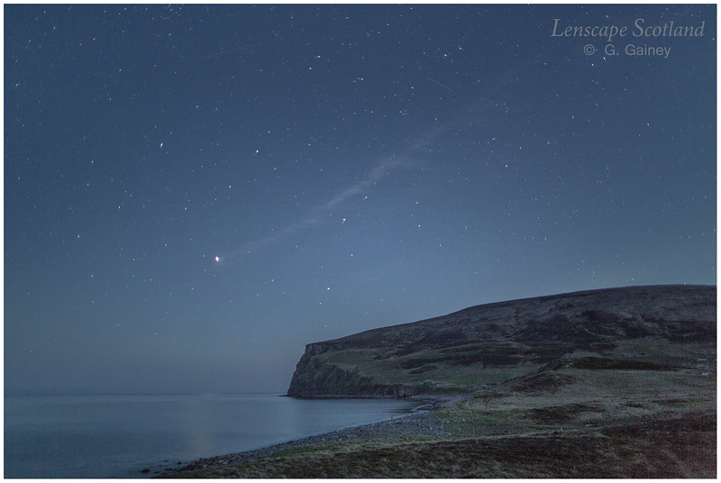 Rackwick Bay at night, with stars
