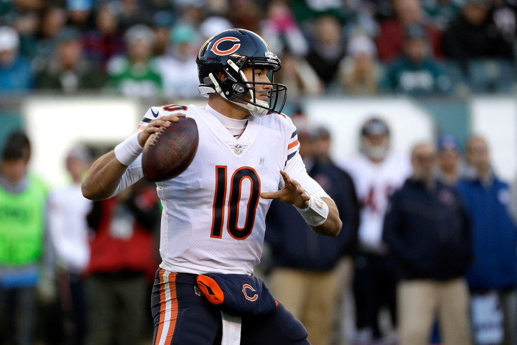 . Chicago Bears\' Mitchell Trubisky in action during the second half of an NFL football game against the Philadelphia Eagles, Sunday, Nov. 26, 2017, in Philadelphia. (AP Photo/Michael Perez)