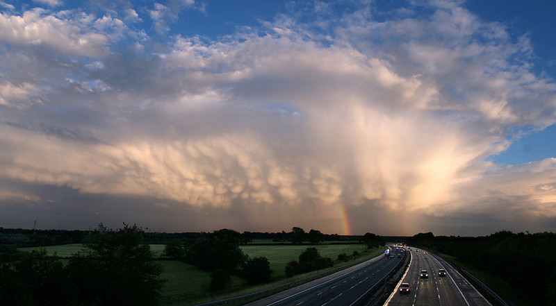 Independence Day storm over Lutterworth, Leics, UK. Great mammatus display on rear flank of cell.
