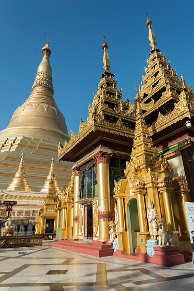 Golden stupa and prayer hall at Shwedagon Pagoda, Yangon (Rangoon), Myanmar (Burma)