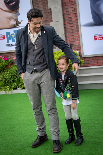 WESTWOOD, CALIFORNIA - JUNE 02: Brett Dalton (R) and daughter Sylvia attend the Premiere of Universal Pictures' 'The Secret Life Of Pets 2' at Regency Village Theatre on Sunday, June 02, 2019 in Westwood, California. (Photo by Tom Sorensen/Moovieboy Pictures)