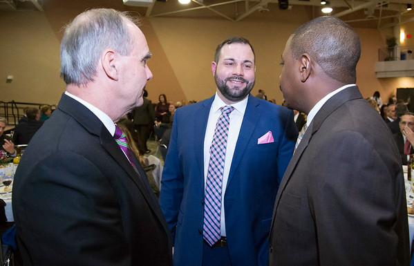 11/21/19 Wesley Bunnell | Staff The Greater New Britain Chamber of Commerce celebrated their 106th year with their annual dinner on Friday night at CCSU. Chamber President & CEO William D. Moore, L, and Chamber Chair Kyle P. Kummer.