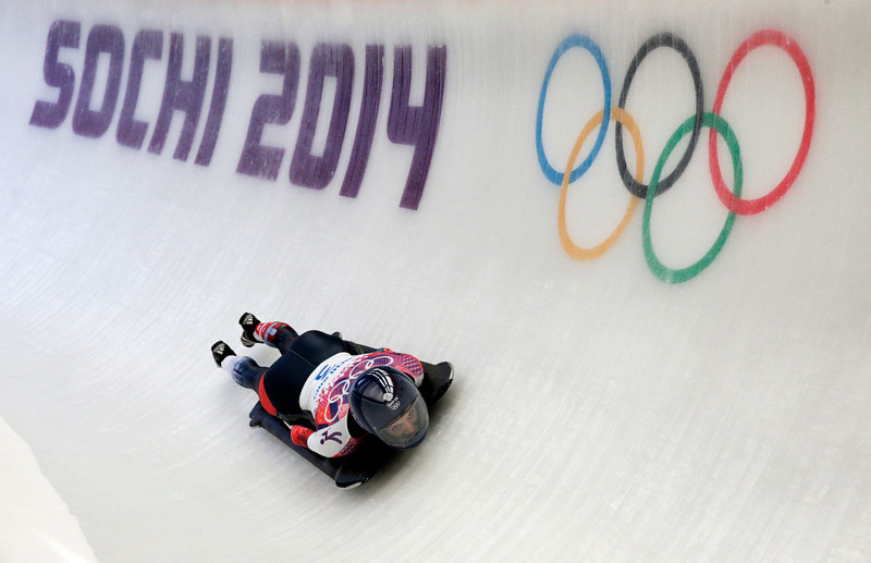 . Shelley Rudman of Great Britain during the Women\'s Skeleton heats on Day 6 of the Sochi 2014 Winter Olympics at Sliding Center Sanki on February 13, 2014 in Sochi, Russia.  (Photo by Adam Pretty/Getty Images)