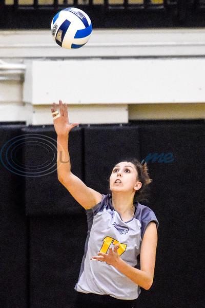 Tyler Junior College's Vanessa Silva (17) serves during a college volleyball game at Tyler Junior College in Tyler, Texas, on Wednesday, Sept. 19, 2018. (Chelsea Purgahn/Tyler Morning Telegraph)