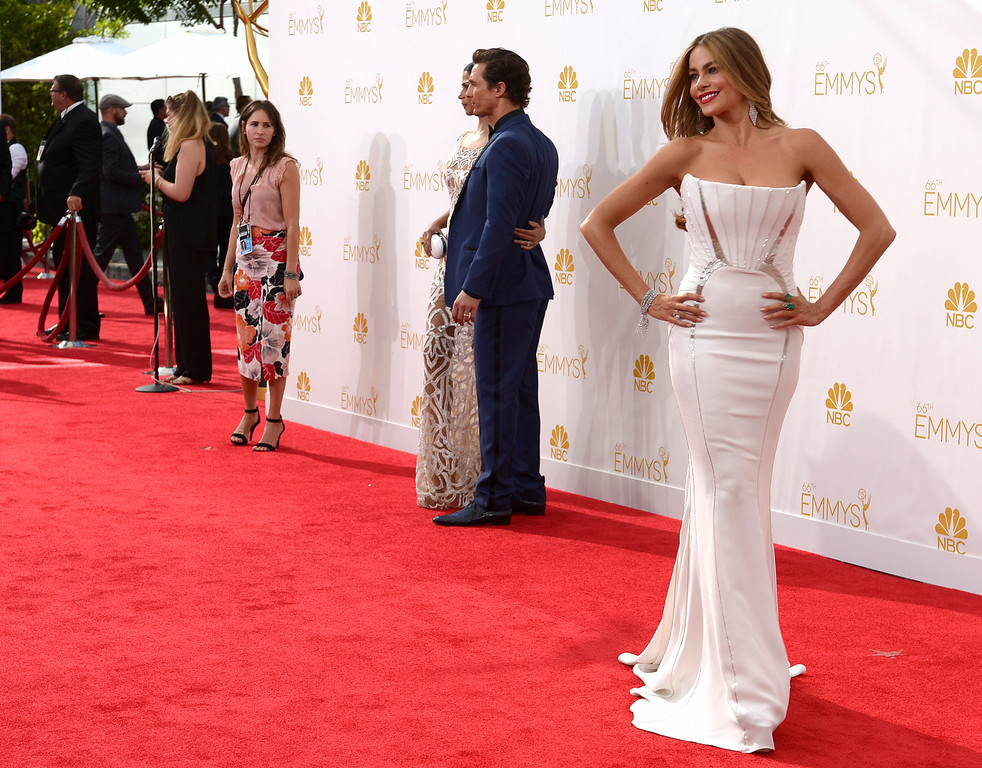 . Sofia Vergara on the red carpet at the 66th Primetime Emmy Awards show at the Nokia Theatre in Los Angeles, California on Monday August 25, 2014. (Photo by John McCoy / Los Angeles Daily News)