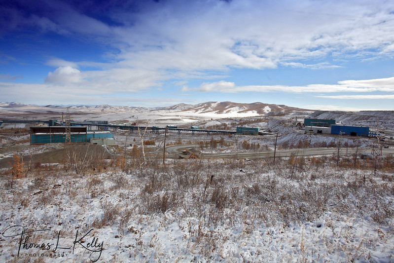 Main Factory of Mongolian-Russian mining venture on the outskirts of the Erdenet city, population of 80,000 dictates work as well as life in the Soviet -style city. 5,200 employees work at this site excavating up to 25.2 million tons of iron ore per year.