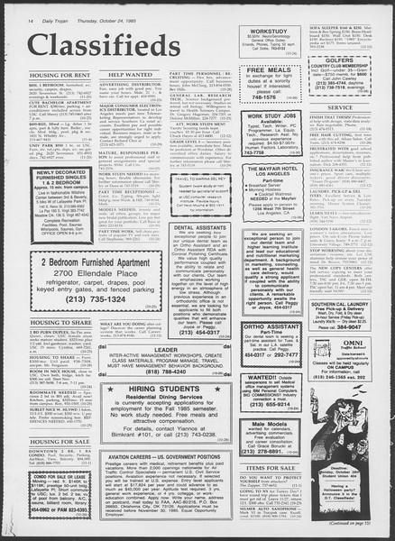 Daily Trojan, Vol. 100, No. 38, October 24, 1985
