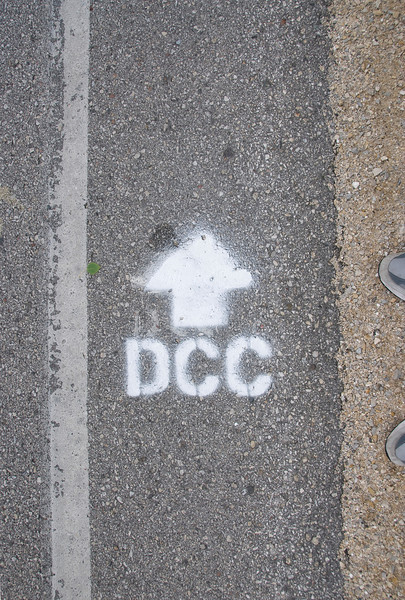 Road marking for the Door Country Century, 2008.