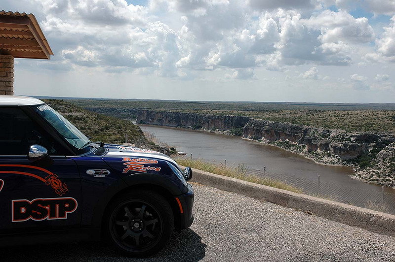We arrive at a major geographical landmark, the Pecos River crossing, north of Del Rio, TX. We're within sight of the US-Mexican border. Answers to this question required getting off the main road to a nearby rest area/overlook.
