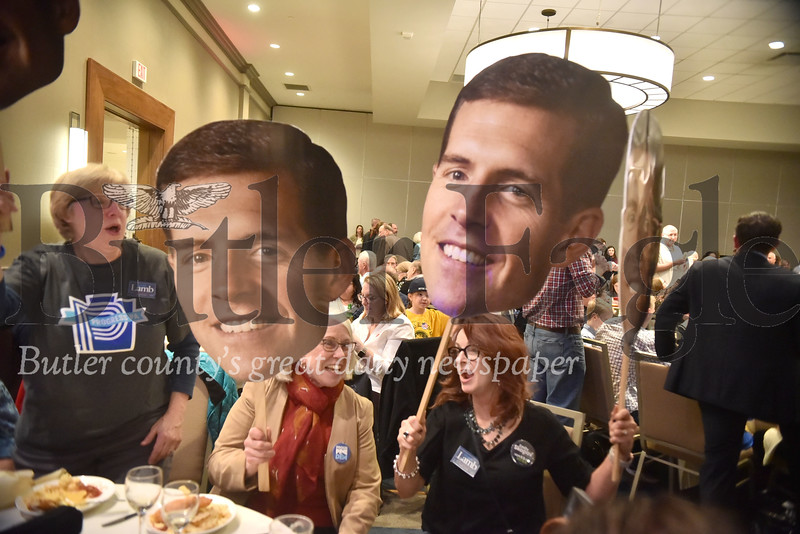 Connor Lamb wins congressional race for the 17th district  to beat Keith Rothfus his party at Double tree hotel in Cranberry twp