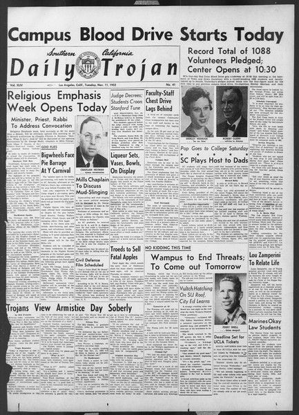 Daily Trojan, Vol. 44, No. 41, November 11, 1952