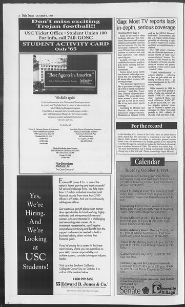 Daily Trojan, Vol. 123, No. 23, October 04, 1994