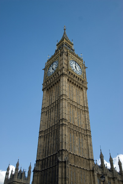 Looking up the Big Ben from Elizabeth Tower - Westminster, England