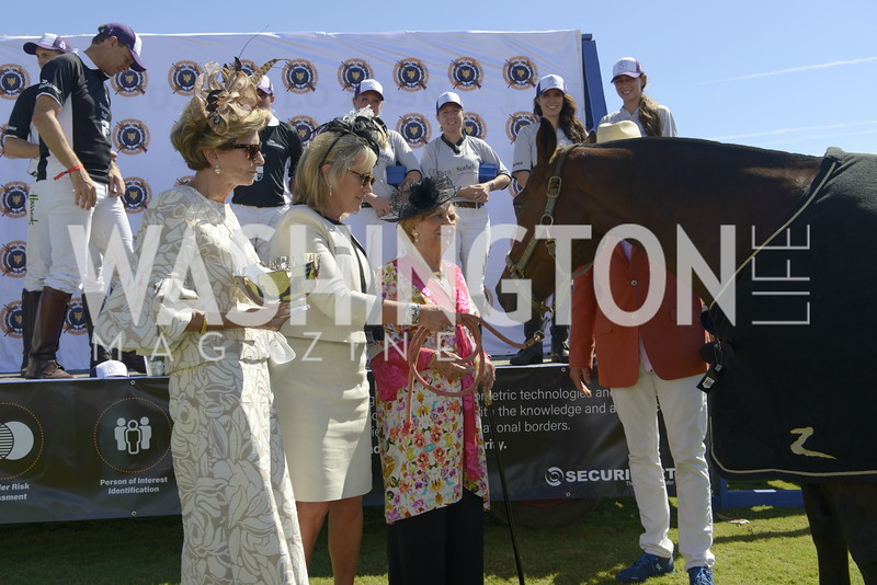 Elizabeth von Hassell (center) and Jacqueline Mars (right) greet Most Valuable Pony of the Match,  NSLM 2019 Polo Classic Great Meadow Sep 15 2019 Photo by Nancy Milburn Kleck