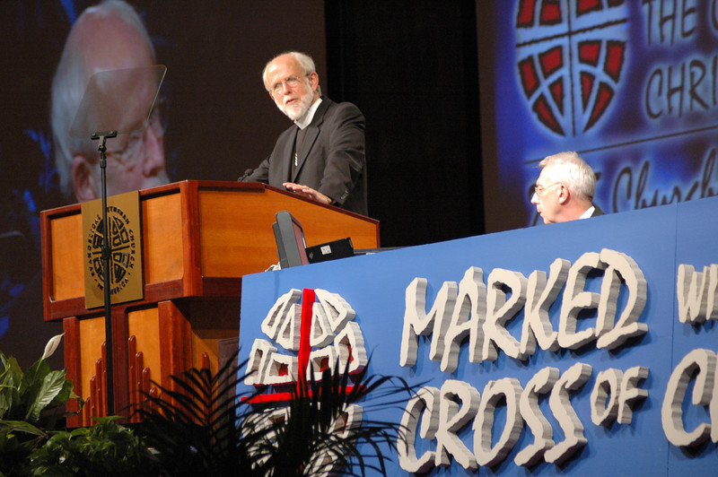 Presiding Bishop Mark Hanson leads the Assembly through Business Session One, Monday evening, August 8.