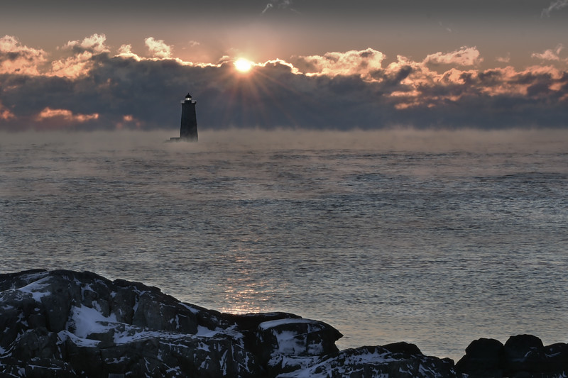 Whaleback Lighthouse composite with Sea Smoke