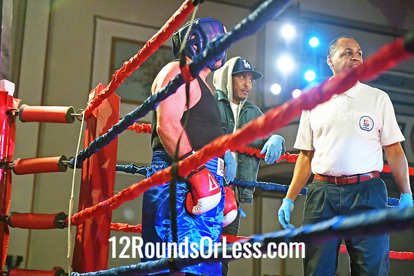 Bout #12:  Derrick Dowdell (Blue4 Gloves), Quality Work Boxing  vs  Ed Boehler (Red Gloves), Independent, 132Lbs., Heavy Wt., Masters