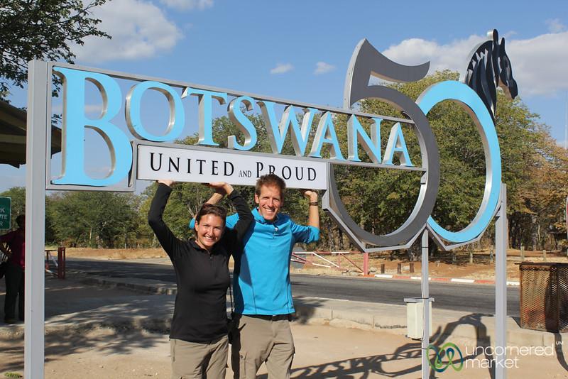 Dan and Audrey at Botswana 50th Anniversary Sign - Chobe National Park
