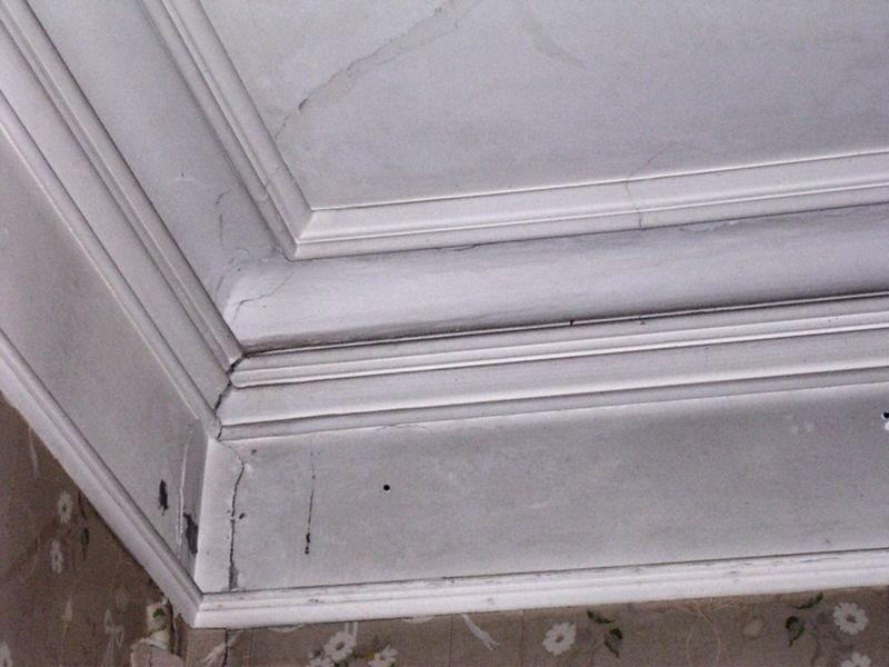 An inside corner in the front main parlor. There is more beautiful molding on the large square opening that connects the front and rear parlors.
