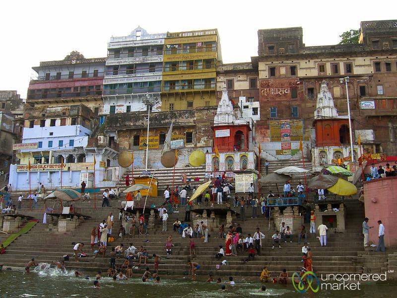 Evening Puja (Prayer) Along the Ganges River - Varanasi, India