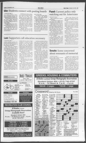 Daily Trojan, Vol. 144, No. 40, October 24, 2001