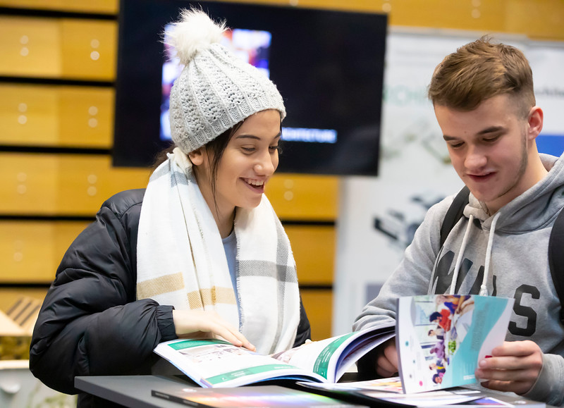"22/11/2019. FREE TO USE IMAGE. Pictured at Waterford Institute of Technology (WIT) Open Day. Pictured are Emma Byrne Naas and John McNamara Carlow. Picture: Patrick Browne  Two open days taking place this week for school leavers and adult learners at WIT Arena  Families of south east Leaving Cert students wishing to get as much course and college-related research done as early as possible in sixth year can do so by attending the Waterford Institute of Technology (WIT) Saturday Open Day, 9am-2pm on 23 November 2019. The traditional schools' open day will run as usual on Friday, 22 November with a focus on information for secondary school students, students in further education colleges, and other CAO applicants, including mature students.  The Saturday Open Day – isn't just about courses for school leavers – it will have information available on the courses available across WIT's schools of Lifelong Learning, Humanities, Engineering, Science & Computing, Health Sciences, Business.  Adults interested in upskilling, or re-skilling can find out about Springboard courses, traditional evening courses as well as part-time and postgrad courses which are offered. WIT also runs specialist programmes for education, science, engineering and other professionals. The number of students studying WIT's part-time and online courses increased to 1650 in 2018, a 28% increase on 2017.  WIT Registrar Dr Derek O'Byrne says: ""A trend we are seeing at WIT Open Days is that students who may have enjoyed the Schools Open day with their friends and school groups, will return the following day with their parents or guardians.""  Students whose schools are attending are encouraged to join their school group on the Friday. As school students are fully catered for at the Schools' Open Day on Friday, there will not be the same breadth of school leaver focused talks and events at the open day on Saturday. However, says Dr O'Byrne it is useful for parents to be able to find out ab"