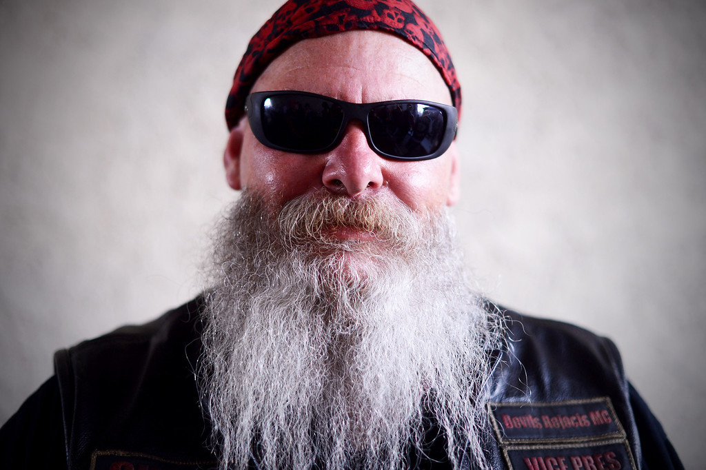 . Cuff, of the Devils Rejects, poses as motorcycle club members rally Saturday, March 29, 2013 at The House Lounge in Maywood in support of the Mongols who are facing a federal trial seeking to take away their trademark patch. (Photo by Sarah Reingewirtz/Pasadena Star-News)