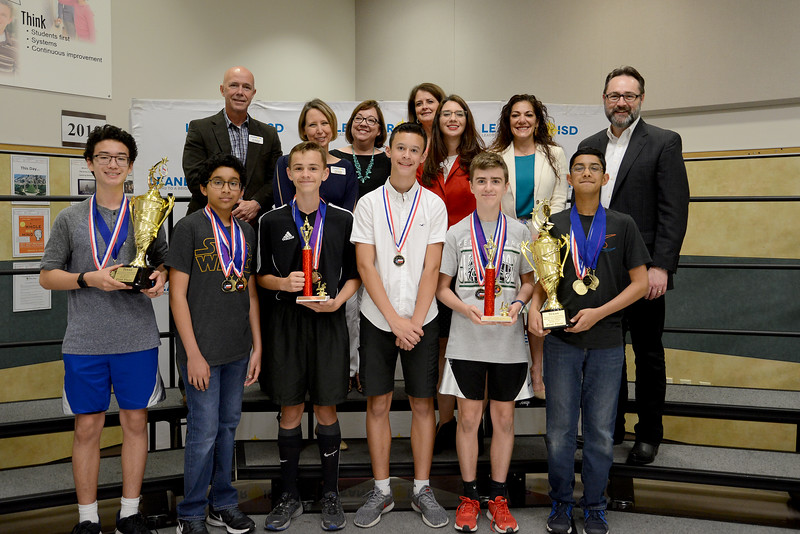 "Cedar Park Middle School Team 4, ""The Thinkers,"" recognized for being one of six LISD teams to qualify for the Global Destination Imagination Competition."