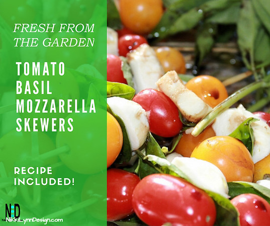 Tomato Basil Mozzarella Skewers Have basil and cherry tomatoes coming out of your ears? I do! Try these fresh tomato basil mozzarella skewers for a quick snack or appetizer.
