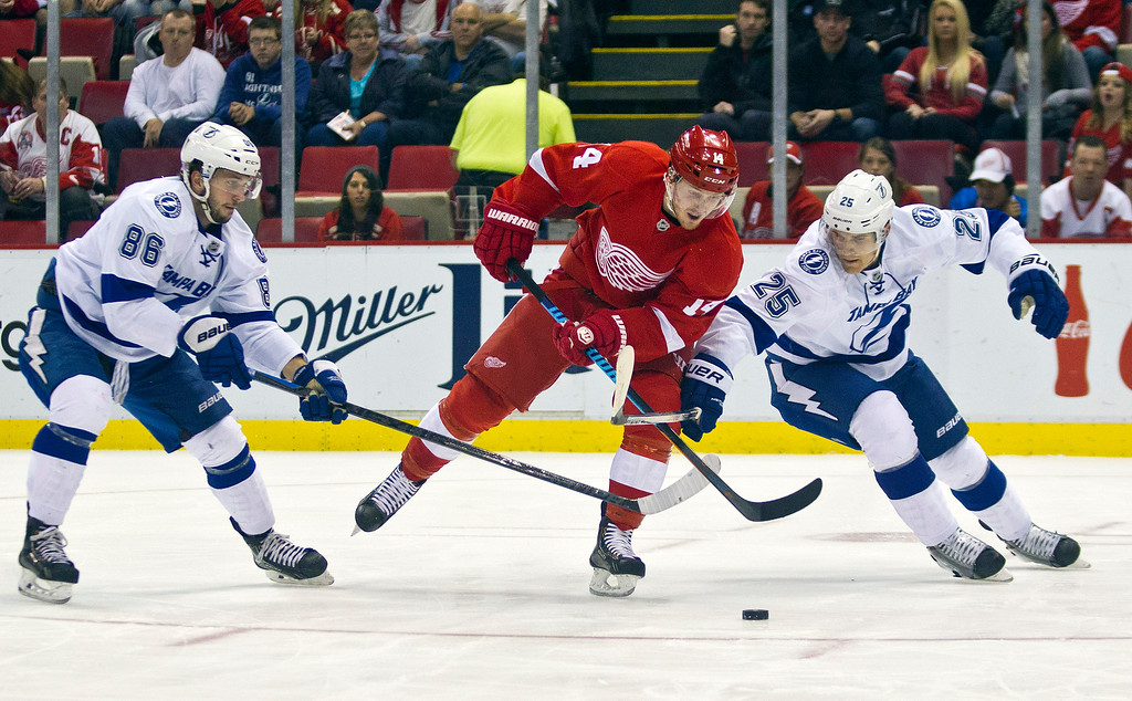 . Tampa Bay Lightning forward Nikita Kucherov (86), of Russia, and defenseman Matthew Carle (25) vie for the puck with Detroit Red Wings forward Gustav Nyquist (14), of Sweden, during the first period of an NHL hockey game in Detroit, Mich., Sunday, Nov. 9, 2014. (AP Photo/Tony Ding)