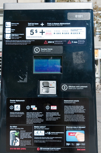 Automated ticketing machine in Montreal, Canada